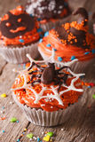 Halloween cupcakes decorated with chocolate spider, vertical Royalty Free Stock Photography