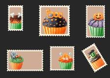Halloween cupcakes envelope stamps Royalty Free Stock Photos
