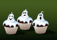 Halloween Cupcakes Funny Ghosts. Illustration Stock Images