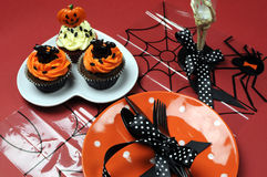 Halloween cupcakes with orange pla Stock Photography