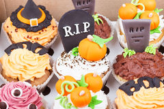 Halloween cupcakes in the paper box Stock Images