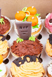 Halloween cupcakes in the paper box Royalty Free Stock Images