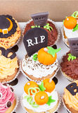 Halloween cupcakes in the paper box Royalty Free Stock Photos