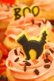 Halloween cupcakes on a serving tray Royalty Free Stock Images