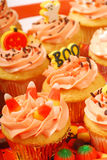 Halloween cupcakes on a serving tray Royalty Free Stock Image