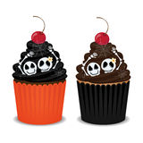 Halloween cupcakes. Halloween cupcakes with skeleton, spider webs and cherry. Cute cupcakes for the Halloween party, vector illustration Stock Photos