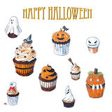 Halloween Cupcakes sketch collection on white Royalty Free Stock Photos