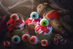 Halloween cupcakes with sweet eyes. For party royalty free stock photo