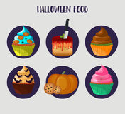 Halloween cupcakes. Vector 10eps. Sweet cakes set with pumpkin, eye, bat decorations. Halloween candy for party. Colorful muffin icons Stock Photo
