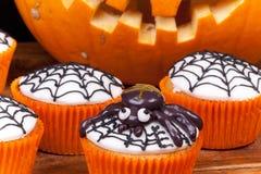 Halloween cupcakes with web Stock Photos