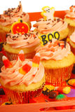 Halloween cupcakesd on a tray Royalty Free Stock Image