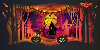 Happy Halloween trick or treat 31 october Party wallpaper. Cut paper Happy Halloween trick or treat festive abstract craft background, greeting card, 3D paper stock illustration