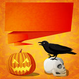 Halloween cute banner with black raven on the Royalty Free Stock Photos