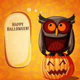 Halloween cute banner on the craft paper texture Royalty Free Stock Photo