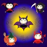 Halloween. Cute bats, pumpkin, hell, death with with a scythe. Royalty Free Stock Photo