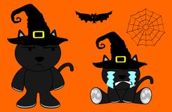 Halloween cute black cat witch cartoon set Royalty Free Stock Photo