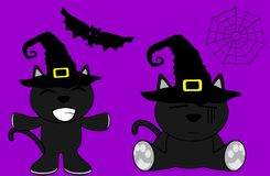 Halloween cute black cat witch cartoon set2 Stock Image
