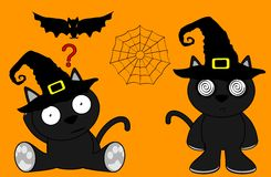 Halloween cute black cat witch cartoon set3 Stock Photos