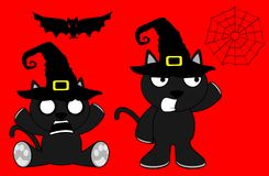 Halloween cute black cat witch cartoon set4 Stock Images