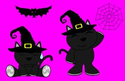 Halloween cute black cat witch cartoon set5 Royalty Free Stock Image