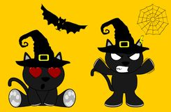 Halloween cute black cat witch cartoon set6 Royalty Free Stock Image