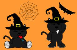 Halloween cute black cat witch cartoon set7 Stock Photos