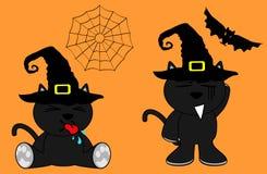 Halloween cute black cat witch cartoon set7 Stock Photos