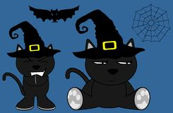 Halloween cute black cat witch cartoon set8 Royalty Free Stock Photo