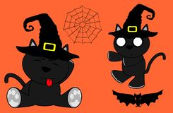 Halloween cute black cat witch cartoon set9 Stock Photography