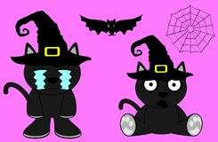 Halloween cute black cat witch cartoon set0 Royalty Free Stock Photos