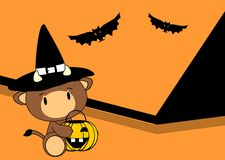 Halloween cute bull baby witch background Royalty Free Stock Image