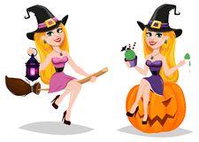 Halloween, cute cartoon character for holiday.. Set with beautiful lady witch flying on broom and witch sitting on pumpkin. Stock vector illustration Stock Photos