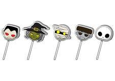 Halloween cute cartoon character lollipop candy. Halloween cute cartoon candy set, mini  character lollipop collection , vector illustration Stock Images