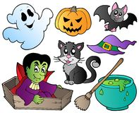 Halloween cute cartoons set 1 Royalty Free Stock Images