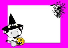 Halloween cute cow baby witch background Stock Images