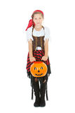Halloween: Cute Hallowen Girl Pirate. Halloween series with cute children dressed as Dracula, a pirate, and Little Red Riding Hood.  Isolated on white Stock Photos