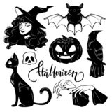 Halloween cute hand drawn elements set, vector illustration stock illustration