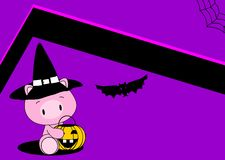 Halloween cute pig baby witch background Stock Image