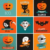 Halloween cute set of icons. Posters Royalty Free Stock Photos