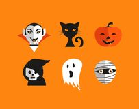 Halloween cute set of icons Stock Photography