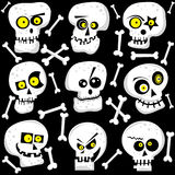 Halloween Cute Skull Faces Royalty Free Stock Photo