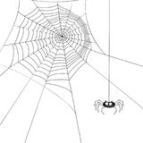 Halloween cute spider and web. royalty free illustration