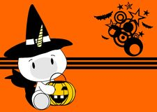 Halloween cute unicorn baby witch background Royalty Free Stock Images