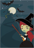 Halloween cute witch background Stock Images