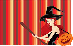 Halloween cute witch background Stock Image