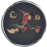 Halloween cute witch flying on her broom on a full moon night. Vector illustration. Royalty Free Stock Photos