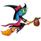 Halloween cute witch flying on her broom. Vector cartoon  illustration Royalty Free Stock Image
