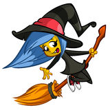 Halloween cute witch flying on her broom. Vector cartoon  illustration. Royalty Free Stock Photo