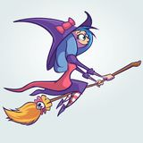Halloween cute witch flying on her broom. Vector cartoon  illustration. Halloween cute witch flying on her broom. Vector cartoon  illustration Royalty Free Stock Photography
