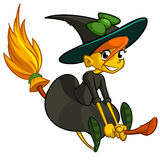 Halloween cute witch flying on her broom. Vector cartoon sticker Stock Photo